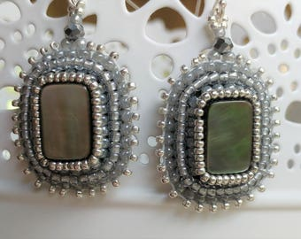 Gray Mother of Pearl Bead Embroidered Earrings