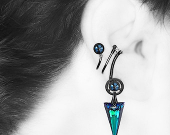 Steampunk Ear Cuff with Bermuda Blue Swarovski Crystals , No PIercing Needed, Cartilage Earring, Statement Earring, Mimas III v6