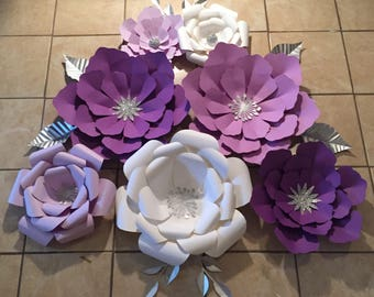 7pc Purple and White Giant Paper Flowers