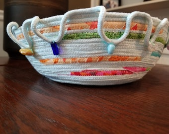 Hand dyed Handmade Coiled Rope Bowl/Basket