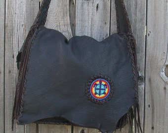 Leather messenger bag , Aloha Turtle Handbag ,  Leather handbag , Turtle totem