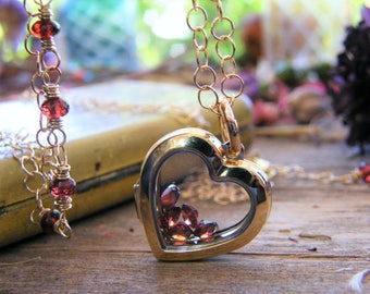 gold floating glass locket heart locket a exclusive to pure rox jewels design