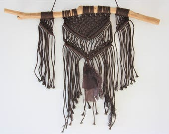 "Wall decor drift wood and Brown macramé ""Nature & Co"""