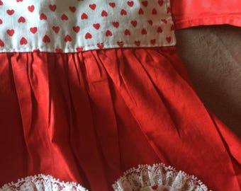 Vintage Apron Hand Sewn Heart Apron Valentines Day Love HouseWork Style