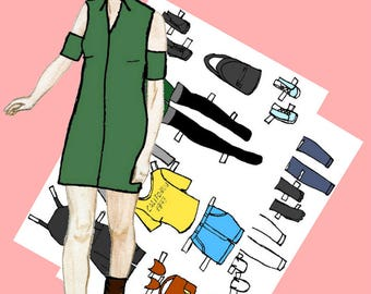 Paper doll Printable paper doll Fashion paper doll Dress up doll Julia #008 Digital paper doll Cut out doll