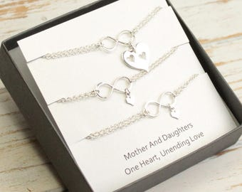 Sterling Silver Mother and Two Daughters Infinity Cut Out Heart Bracelet Set