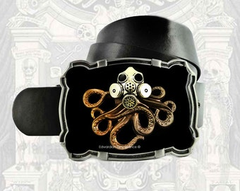 Octopus with Gas Mask Belt Buckle Inlaid in Hand Painted Black Enamel Industrial Victorian Inspired Ornate Buckle with Color Options
