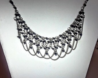 Black, Silver, Beaded, Chain, Bib, Statement, Necklace, Beaded Necklace, Statement Necklace, Black Necklace, Goth, Formal, Gift, Women, Girl