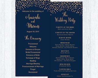 Wedding Program Template Gold Confetti, Wedding Ceremony Program, Navy blue, Nautical, Minimalist, Modern, PDF File