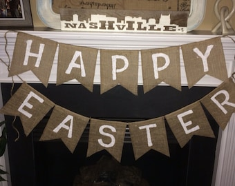 Happy Easter Burlap Banner, Happy Easter Burlap Sign, Easter Banner, Easter Burlap Banner, Easter Sign