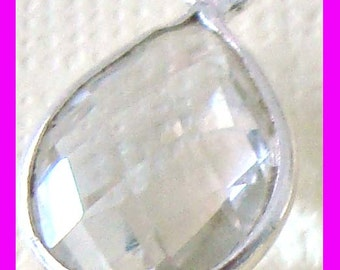 2pcs 16mm x 10mm clear quartz Teardrop Sterling Silver Wrapped bezel gemstone faceted charm dangle mini pendant