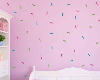 Sprinkle Wall Stickers, Girls Wall Decals, Easy Peel & Stick Decals, 108 PCS Sprinkle Set, 3 Color Sprinkle Decals, Removable Decals