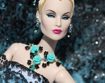 """jewelry set and hair ornament for Fashion Royalty, Poppy Parker, Barbie and similar 12"""" fashion dolls"""