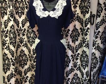 1940's Navy Cream Rayon Blend Dress