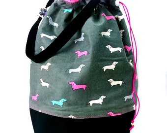 Large Knitting Project Bag Crochet Drawstring Tote WIP Bag - Pet the Puppies (Flannel)