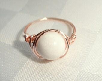 White stone ring, White jade rose gold wire wrapped ring, Rose Gold wire ring, Gifts