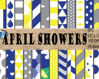 April Showers - Digital Paper Designs