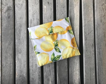 Reusable Sandwich or Snack Bag, 3 sizes available Reusable lunch bag Choose fold over or Snap closure, Food Safe PUL- Lemons