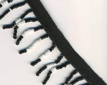 """Black and White Beaded Trim 1.25"""" wide"""
