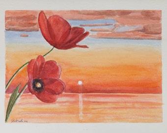 Stampa di acquarello da me realizzato, tramonto rosso