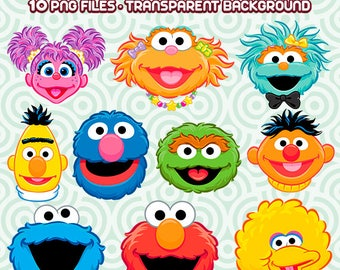 Sesame Street Clipart, Sesame Street PNG, Sesame Street Characters,Cookie Monster PNG,  Instant Download 37