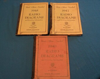 Three Antique Most-Often-Needed 1940--1947--1948 Radio Diagrams and Servicing Information