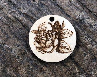 Rose Flower Wooden Pendant