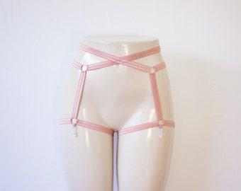 Rose Cage Garter Belt: Rose Body Cage Garters, Rose Suspender Belt, Brown Lingerie, Rose Body Harness, Exotic Dancewear, Festival Lingerie