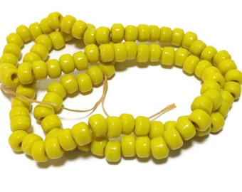 Glass Crow Beads, Opaque Yellow Glass, 9mm Glass Beads, 100 Bead Strand, Native American Jewelry Making, Tribal Supplies, C31