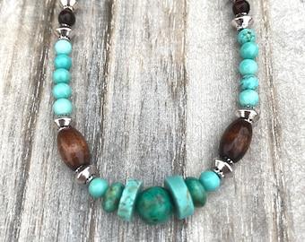 Turquoise stone necklace Boho jewelry Natural stone jewelry Gemstone necklace Gift for her Adorn she jewelry Boho chic December birthstone