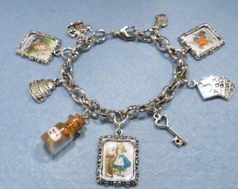 Alice in Wonderland picture and charm bracelet