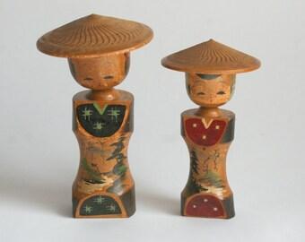 Kokeshi, Kokeshi doll,kokeshi couple,Japanese doll,wooden doll,Japanse vintage