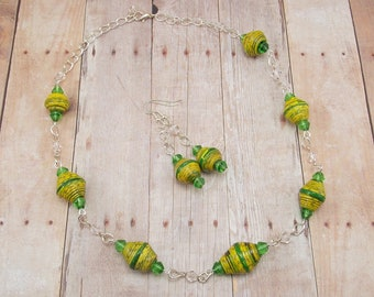 Paper Bead Necklace and Earring Set - Rwandan Paper Beads - Bright Yellow and Green Stripes