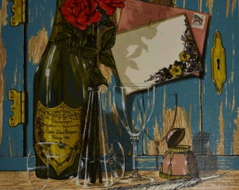 Vintage Champagne & Roses 12x16 Canvas Print - Signed H Hargrove - Limited to 2500