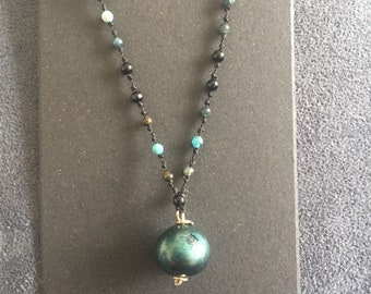 Mermaid's Tear knotted beaded gemstone necklace