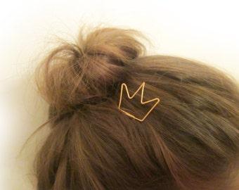Crown Hair Stick / Cute Gold Hairpin / Hair Fork / Pin Hair Accessory / Hair Holder / OOAK / Childrens Accessory / Christmas Gift / E700