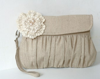 Rustic wedding clutch, bridesmaid gift, bridesmaid clutch purse, linen and lace clutch with strap, pearl flower clutch bag, wristlet clutch