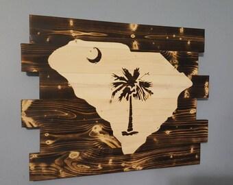 South Carolina State Flag Palmetto Tree Rustic Wall Art