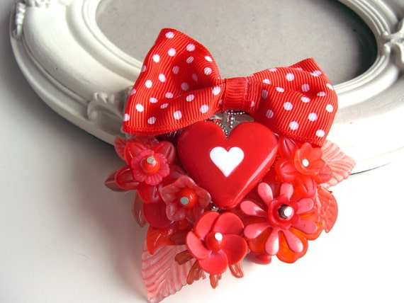 Hair Clip kawaii lolita accessory red love heart  Valentine s day