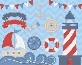 80% OFF SALE Nautical Clipart, Sea Clipart, Ocean Clipart, Boat Clipart, Nautical Clipart, Sailor Clipart, Anchor Clipart, Anchor Clip Art
