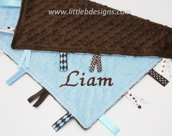 Personalized Baby Tag Blanket Ribbon Lovey - Light Blue Minky with Chocolate Brown Minky
