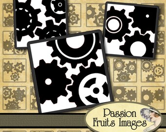 Black on White Gears - Steampunk Digital Collage Sheet inchies--Instant Download
