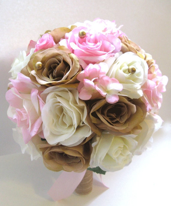 Wedding Silk flower Bouquet Bridal Light PINK GOLD CHAMPAGNE