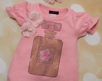 Pink Bubble Romper Baby Girl Romper Set Large Rhinestone Perfume Bottle One Piece Set with  Matching Headband