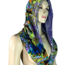 Reversible Splatter Print & Lilac Purple Mystique Metallic Rave Hood - Festival Hood - Hologram - Spirit Hood