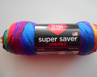Red Heart Super Saver Stripes Yarn Favorite Stripes 5 oz Destash