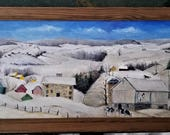 Oil Painting Folk Art Winter Scene Framed
