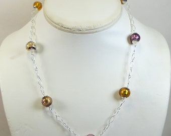 Amethyst Gold Murano Glass Necklace, Venetian Murano 24kt Gold/Silverfoil Precious Glass Jewel Necklace w 925 Sterling Chain Necklace