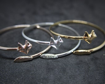 Fox bangle bracelet silver, red gold or golden with structure Fox
