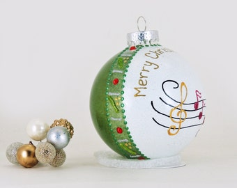 Music notes ornament - Personalized custom hand painted glass ornament